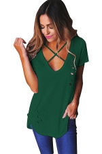 Womens Cross V Neck Hollow Out Short Sleeve Plain T Shirt Green