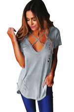 Womens Cross V Neck Hollow Out Short Sleeve Plain T Shirt Gray