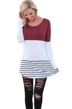Womens Color Block Lace Trim Striped Long Sleeve T Shirt Dark Red