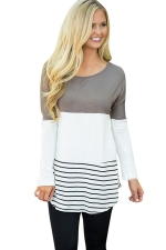 Womens Color Block Lace Trim Striped Long Sleeve T Shirt Gray