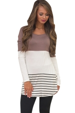 Womens Color Block Lace Trim Striped Long Sleeve T Shirt Khaki