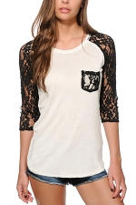 Womens Crewneck Lace Splicing 3/4 Length Sleeve T Shirt Black