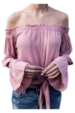 Womens Off Shoulder Flare Long Sleeve Plain Lace-up Top Pink