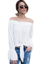 Womens Off Shoulder Flare Long Sleeve Plain Lace-up Top White