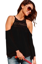 Womens Cold Shoulder Lace Trim Splicing Flare Sleeve Top Black