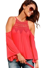Womens Cold Shoulder Lace Splicing Flare Sleeve Top Watermelon Red