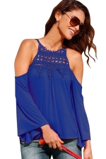 Womens Cold Shoulder Lace Trim Splicing Flare Sleeve Top Sapphire Blue