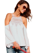 Womens Cold Shoulder Lace Trim Splicing Flare Sleeve Top White