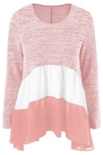 Womens Color Block Long Sleeve Chiffon Hem Patchwork T Shirt Pink
