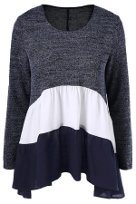 Womens Color Block Long Sleeve Chiffon Hem Patchwork T Shirt Navy Blue