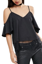 Womens Cold Shoulder Lace Trim Splicing Camisole Top Black