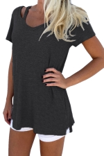Womens Retro V Neck Plain Short Sleeve Loose T Shirt Black