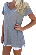 Womens Retro V Neck Plain Short Sleeve Loose T Shirt Gray