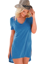 Womens V Neck Sides Slit Short Sleeve Plain T Shirt Blue