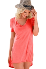 Womens V Neck Sides Slit Short Sleeve Plain T Shirt Pink