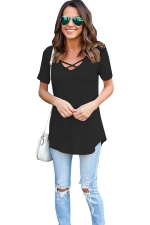 Womens Crisscross V-neck Plain Short Sleeve T Shirt Black