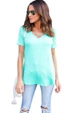 Womens Crisscross V-neck Plain Short Sleeve T Shirt Green