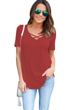 Womens Crisscross V-neck Plain Short Sleeve T Shirt Red