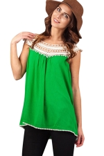Womens Hollow Out Lace Trim Patchwork T Shirt Green