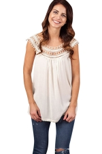 Womens Hollow Out Lace Trim Patchwork T Shirt White