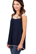 Womens Hollow Out Lace Trim Patchwork T Shirt Navy Blue