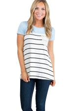 Womens Crewneck Striped Pocket Decor Short Sleeve T Shirt Blue
