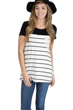 Womens Crewneck Striped Pocket Decor Short Sleeve T Shirt Black