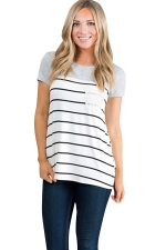 Womens Crewneck Striped Pocket Decor Short Sleeve T Shirt Light Gray