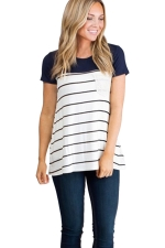Womens Crewneck Striped Pocket Decor Short Sleeve T Shirt Navy Blue
