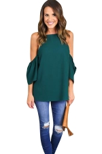 Womens Cold Shoulder Solid Color Loose T Shirt Green