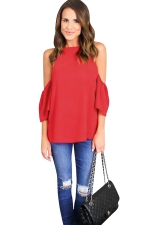 Womens Cold Shoulder Solid Color Loose T Shirt Red