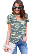 Womens V Neck Camouflage Printed Short Sleeve T Shirt Army Green