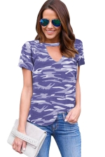 Womens V Neck Camouflage Printed Short Sleeve T Shirt Blue