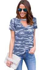 Womens V Neck Camouflage Printed Short Sleeve T Shirt Gray