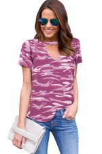 Womens V Neck Camouflage Printed Short Sleeve T Shirt Purple