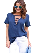 Womens Cross Lace-up V Neck Short Sleeve Plain T Shirt Blue
