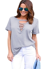 Womens Cross Lace-up V Neck Short Sleeve Plain T Shirt Gray