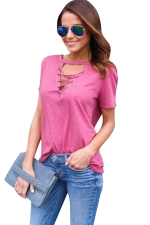 Womens Cross Lace-up V Neck Short Sleeve Plain T Shirt Rose Red