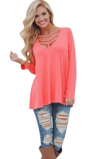 Womens Cut Out V Neck Long Sleeve Loose Plain T Shirt Tangerine