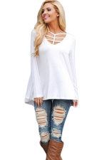 Womens Cut Out V Neck Long Sleeve Loose Plain T Shirt White