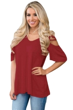 Womens Cold Shoulder Crisscross Detail Relaxing Fit T-shirt Ruby