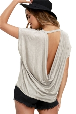 Womens Sexy Plain Open Back T-shirt Gray