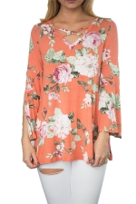 Womens Flower Printed Crisscross Flare Sleeve T-shirt Orange