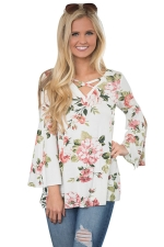 Womens Flower Printed Crisscross Flare Sleeve T-shirt White
