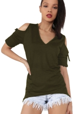 Womens V-neck Cold Shoulder Drawstring Sleeve T-shirt Army Green