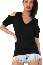 Womens V-neck Cold Shoulder Drawstring Sleeve T-shirt Black