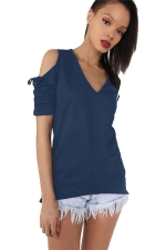 Womens V-neck Cold Shoulder Drawstring Sleeve T-shirt Sapphire Blue