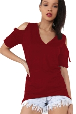 Womens V-neck Cold Shoulder Drawstring Sleeve T-shirt Ruby