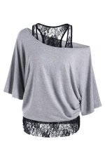 Womens False 2PCS Lace Patchwork Cold Shoulder Batwing Sleeve Top Gray