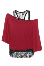 Womens False 2PCS Lace Patchwork Cold Shoulder Batwing Sleeve Top Red